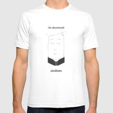 No electricity? Meditate! Mens Fitted Tee White SMALL