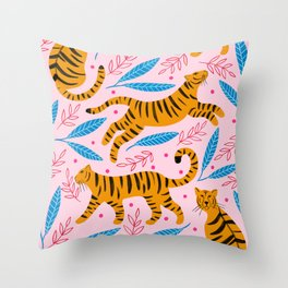 Tiger And Leaf Print Throw Pillow