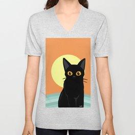 Sunset and cat Unisex V-Neck