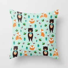 Christmas pattern with bears, foxes and birds #society6 #homedecor Throw Pillow