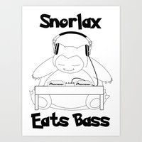 snorlax Art Prints featuring Snorlax Eats Bass by mattdawg8