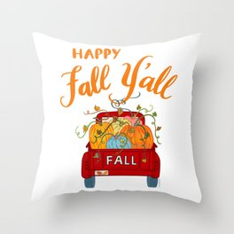 Happy Fall Y'all Vintage Pumpkin Truck Hand Lettered Hand Drawn Throw Pillow