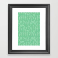 Mint Green Cactus Pattern Framed Art Print