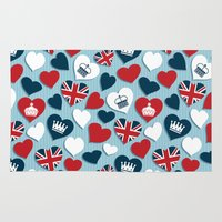 uk Area & Throw Rugs featuring UK Hearts by Matt Andrews