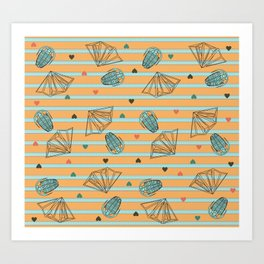 Geology Love: Fossils and Crystals Art Print
