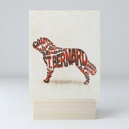 St. Bernard Dog Typography Art / Watercolor Painting Mini Art Print