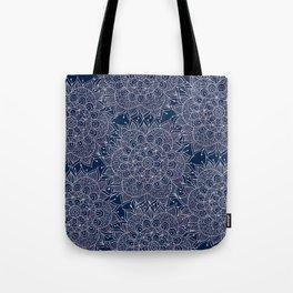 Modern navy blue blush pink watercolor floral mandala Tote Bag
