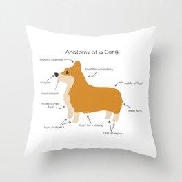 Anatomy of a Corgi Throw Pillow