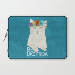 Be like Frida! White cat in flower crown on sky blue Laptop Sleeve