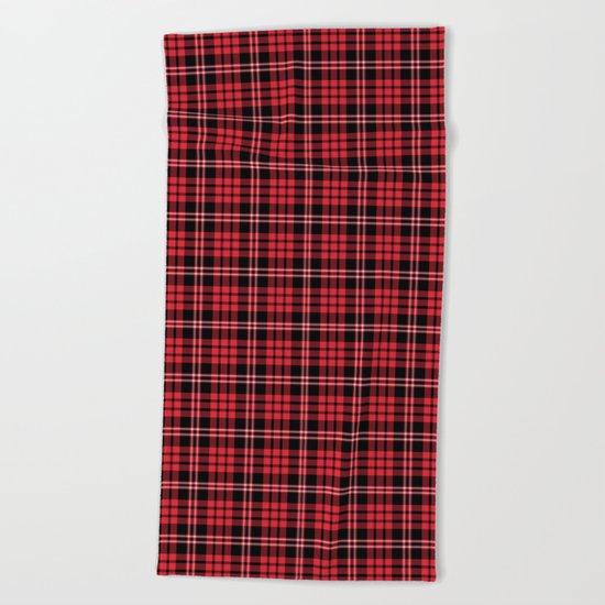 Red & Black Tartan Plaid Pattern Beach Towel