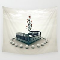 bed Wall Tapestries featuring Bed by Pedro Alvarez