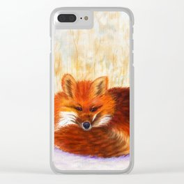 Red fox small nap   Renard roux petite sieste Clear iPhone Case