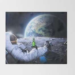 Astronaut on the Moon with beer Throw Blanket