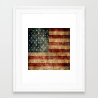 american flag Framed Art Prints featuring American Flag by KOverbee