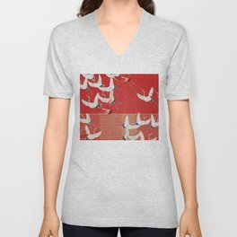 FLYING CRANES Unisex V-Neck