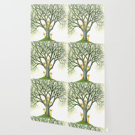 Odessa Whimsical Cats in Tree Wallpaper
