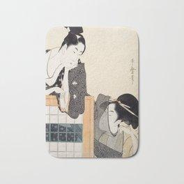 Couple with a Standing Screen by Kitagawa Utamaro Bath Mat