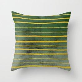 Gold Stripes on Green Throw Pillow