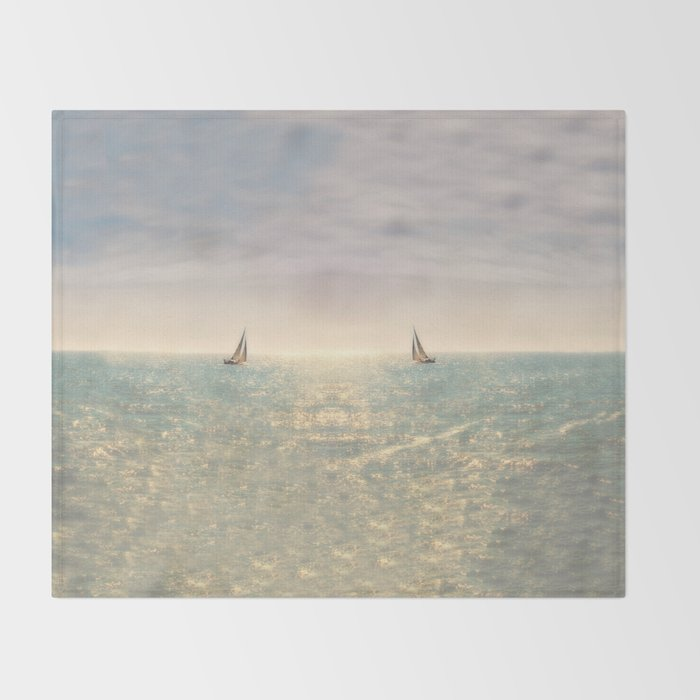 Misty summer day on the sea- a lonely boat Throw Blanket