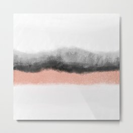 rose gold and grey watercolor ombre Metal Print