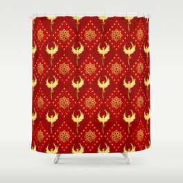 Gold Phoenix and lotus symbol pattern on red Shower Curtain