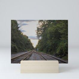 Golden hour at the tracks Mini Art Print