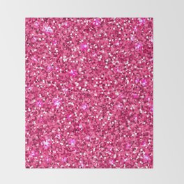Hot pink white modern abstract pattern Throw Blanket