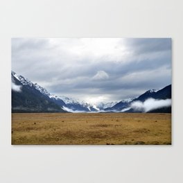 The Home of the Long White Cloud on the Road to Milford Sound Canvas Print