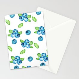 Blueberry Watercolour Pattern Stationery Cards