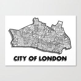 City of London - London Boroughs - Detailed Canvas Print