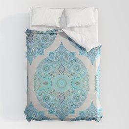 Through Ocean & Sky - turquoise & blue Moroccan pattern Bettbezug