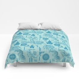 Blue Dragon Chinoiserie Comforters