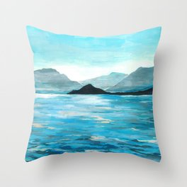 Lake Como, Seascape Original Painting Throw Pillow