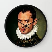 law Wall Clocks featuring Jude Law by Kimberley Britt