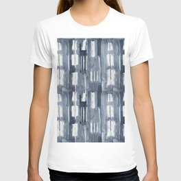 Simply Shibori Lines in Indigo Blue on Lunar Gray T-shirt