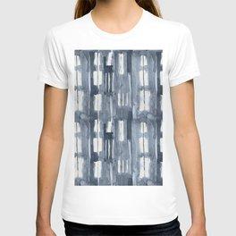 Simply Shibori Lines in Indigo Blue on Lunar Gray T-shirt