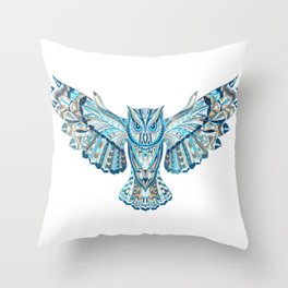 Flying Colorful Owl Design Throw Pillow