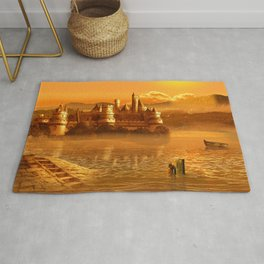 The Golden Fairy Tale Castle Rug
