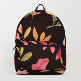 Hand painted pastel pink green brown watercolor leaves Backpack