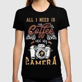 Women Photography Gift print Love Coffee Love Camera Tee T-shirt