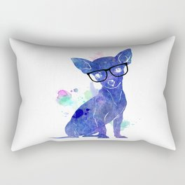 Hipster chihuahua blue edition Rectangular Pillow