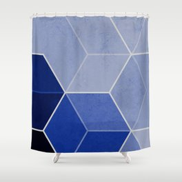 Navy Blue Composition 1 Shower Curtain