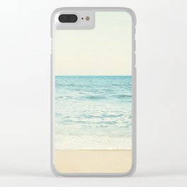 Ocean Landscape Art, Sea Photography, Aqua Seascape, Calming Ocean Horizon Photo Clear iPhone Case