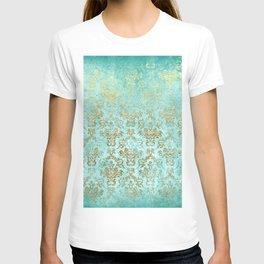 Mermaid Gold Aqua Seafoam Damask T-shirt
