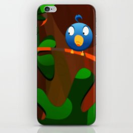 little blue birdie iPhone Skin
