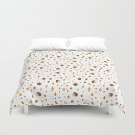 children hedgehog pattern, forest design Duvet Cover