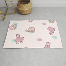 Pink Cute Llama and Cupcake Rug