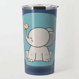 Kawaii Cute Elephant On A Couch Travel Mug