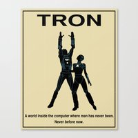 movie poster Canvas Prints featuring Tron Movie Poster by Finlay McNevin