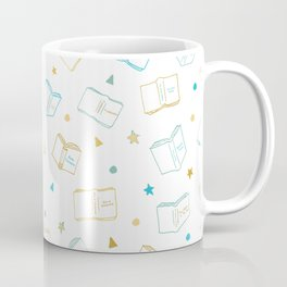 Classic Book Doodles Blue & Yellow Coffee Mug